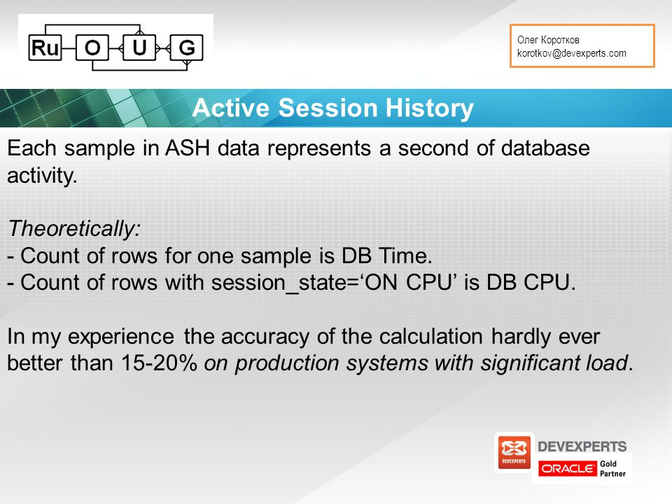 Олег Коротков korotkov@devexperts.com Active Session History Each sample in ASH data represents a second of database activity.