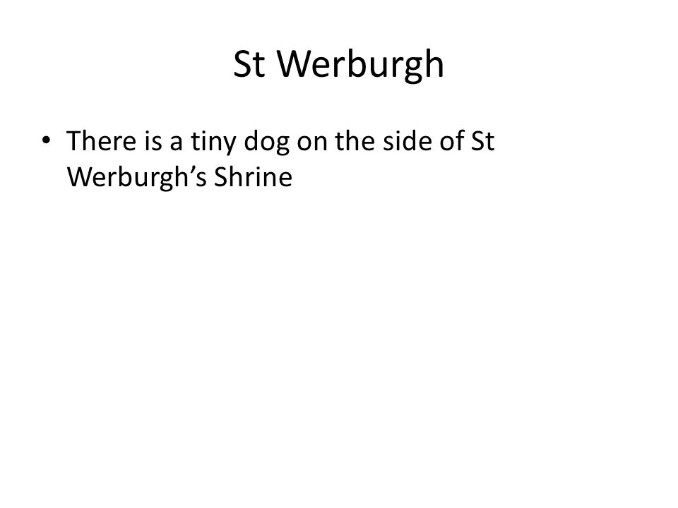 There is a tiny dog on the side of St Werburgh's Shrine