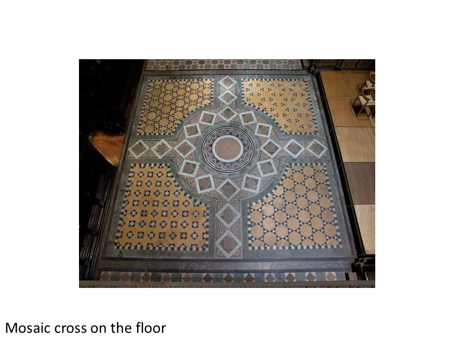 Mosaic cross on the floor