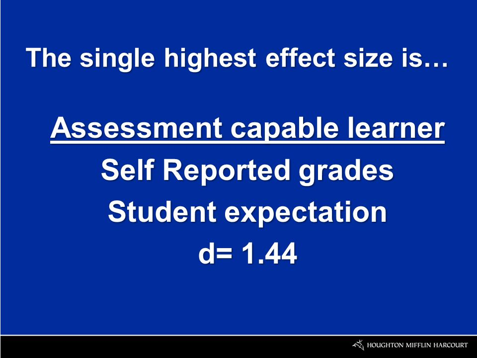 The single highest effect size is… Assessment capable learner Self Reported grades Student expectation d= 1.44
