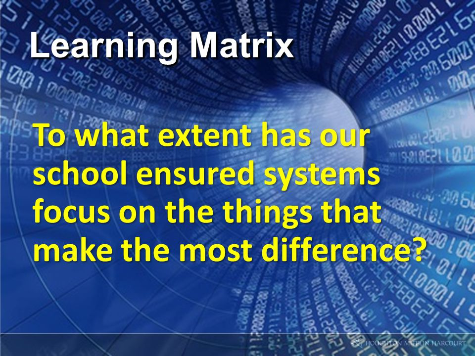 Learning Matrix To what extent has our school ensured systems focus on the things that make the most difference?