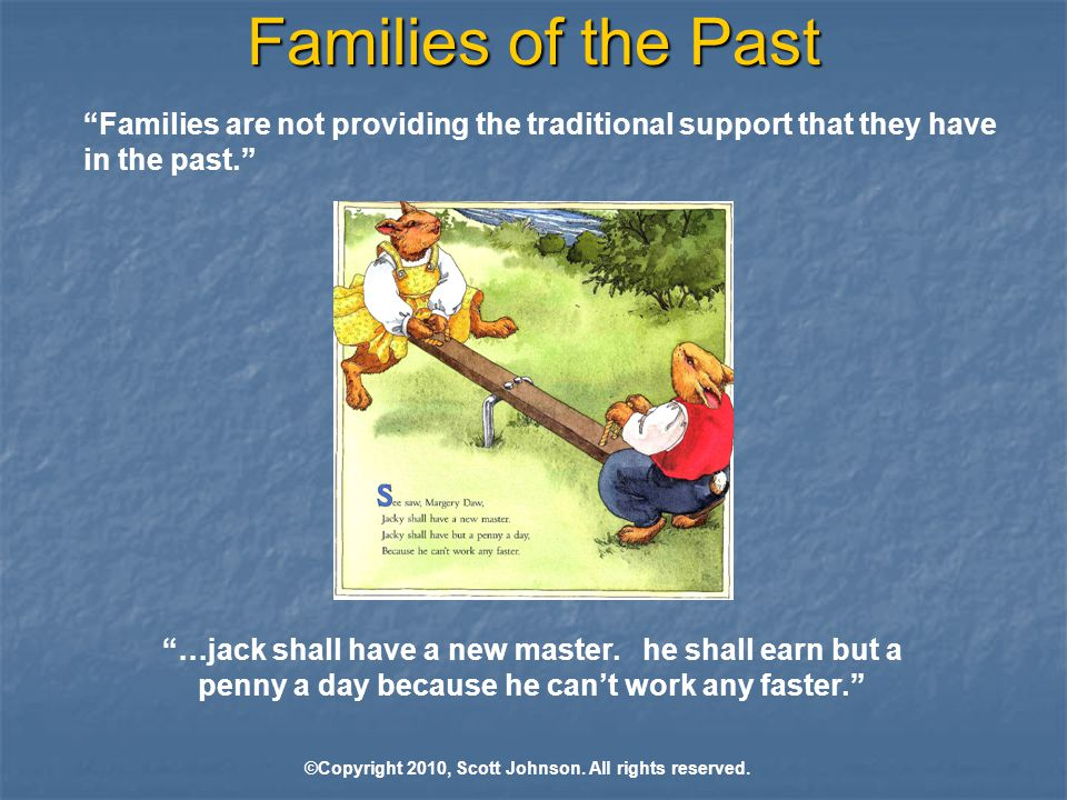 Families of the Past Families are not providing the traditional support that they have in the past. …jack shall have a new master.