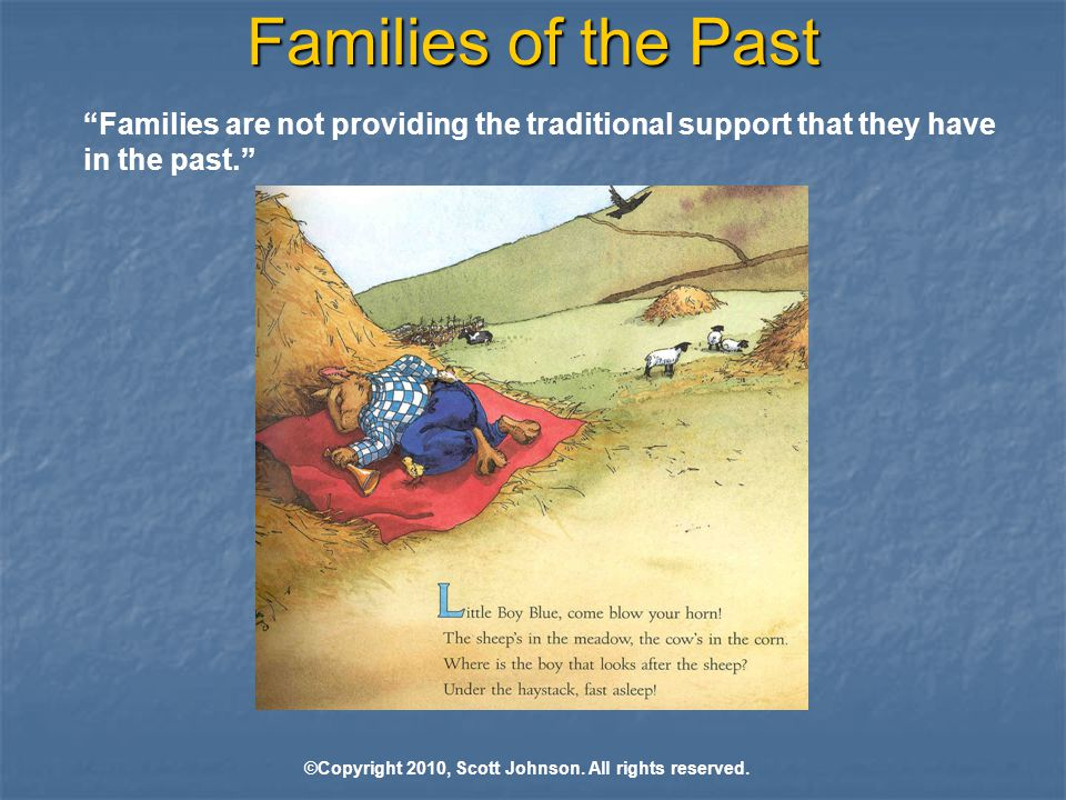 Families of the Past Families are not providing the traditional support that they have in the past. ©Copyright 2010, Scott Johnson.