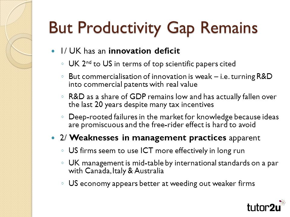 But Productivity Gap Remains 1/ UK has an innovation deficit ◦ UK 2 nd to US in terms of top scientific papers cited ◦ But commercialisation of innovation is weak – i.e.