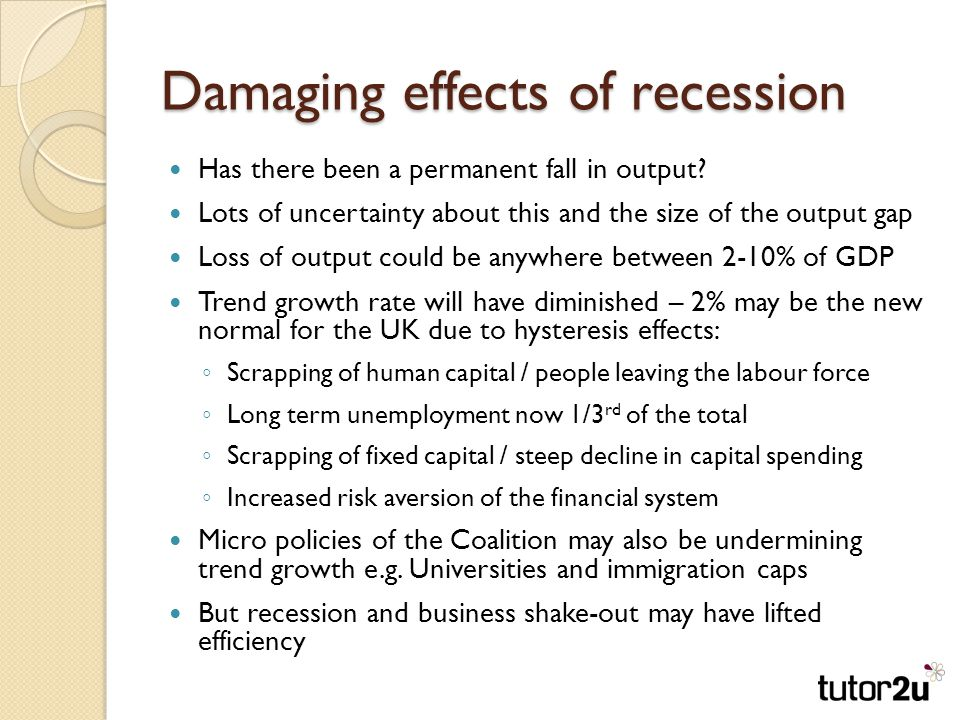 Damaging effects of recession Has there been a permanent fall in output.
