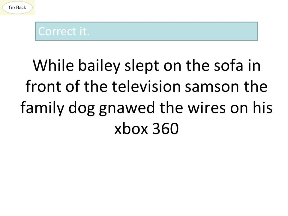 While bailey slept on the sofa in front of the television samson the family dog gnawed the wires on his xbox 360 Correct it.