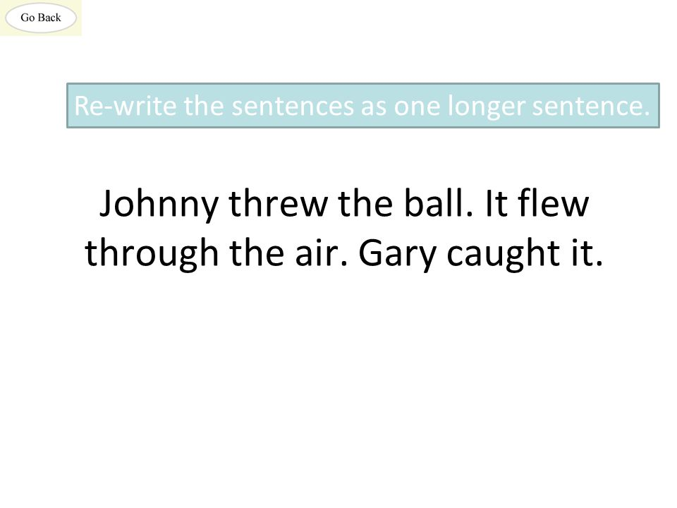 Johnny threw the ball. It flew through the air. Gary caught it.