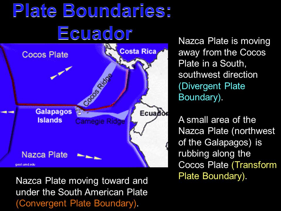 geol.umd.edu Nazca Plate is moving away from the Cocos Plate in a South, southwest direction (Divergent Plate Boundary). A small area of the Nazca Pla