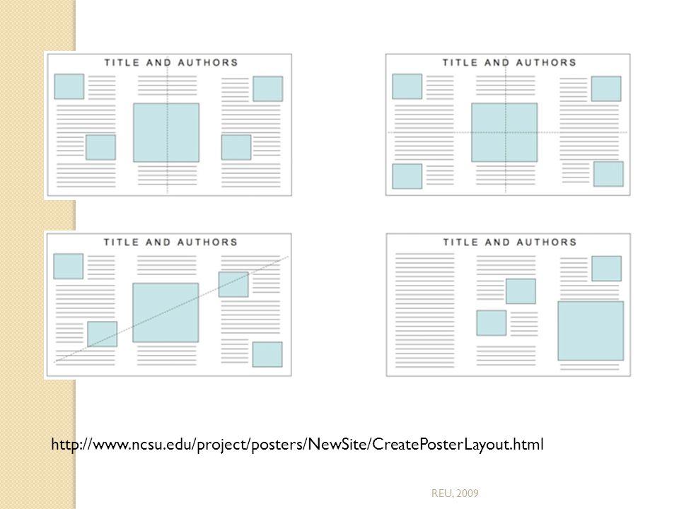 http://www.ncsu.edu/project/posters/NewSite/CreatePosterLayout.html REU, 2009