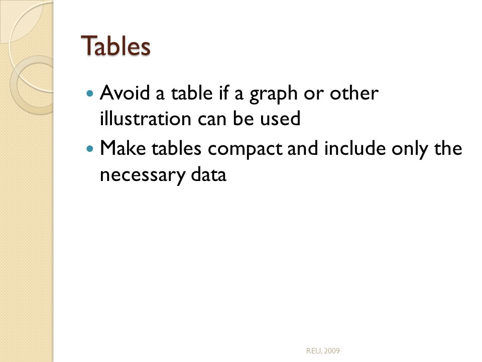 Tables Avoid a table if a graph or other illustration can be used Make tables compact and include only the necessary data REU, 2009