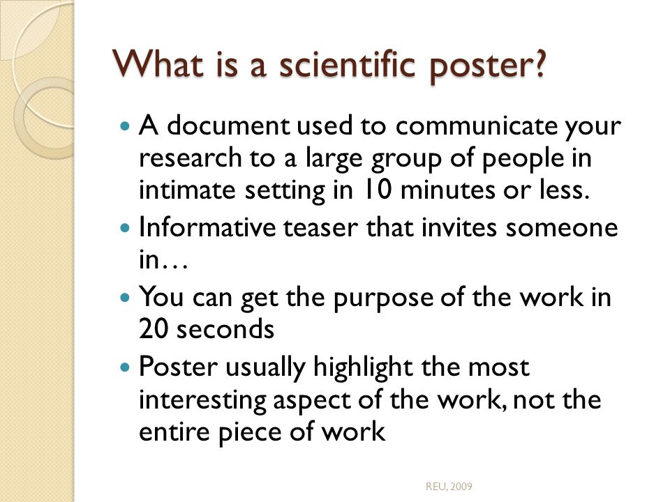 What is a scientific poster.