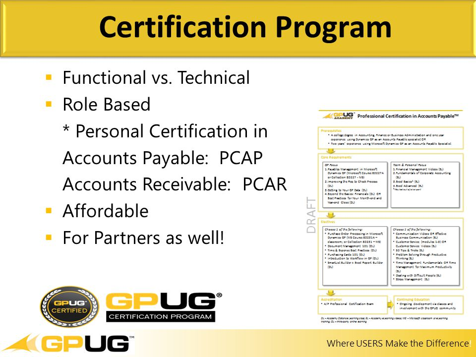 Where USERS Make the Difference!  Functional vs. Technical  Role Based * Personal Certification in Accounts Payable: PCAP Accounts Receivable: PCAR