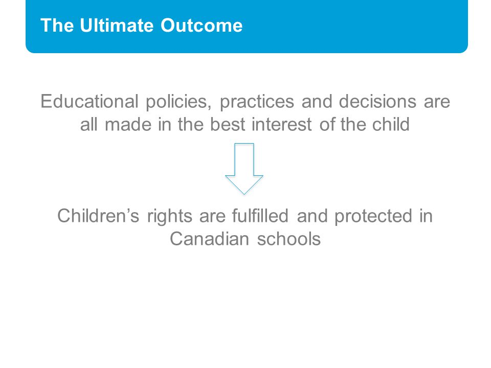 The Ultimate Outcome Educational policies, practices and decisions are all made in the best interest of the child Children's rights are fulfilled and