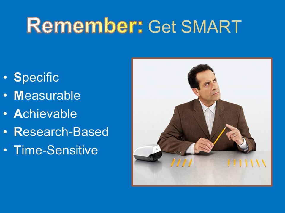 Get SMART Specific Measurable Achievable Research-Based Time-Sensitive