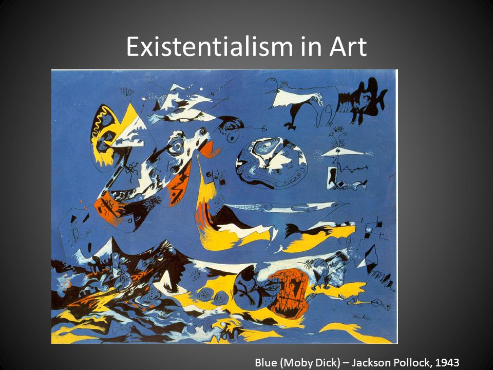 Existentialism in Art Blue (Moby Dick) – Jackson Pollock, 1943