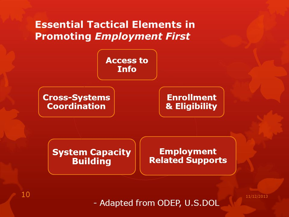 Essential Tactical Elements in Promoting Employment First Access to Info Enrollment & Eligibility Employment Related Supports System Capacity Building Cross-Systems Coordination - Adapted from ODEP, U.S.DOL 10 11/12/2013