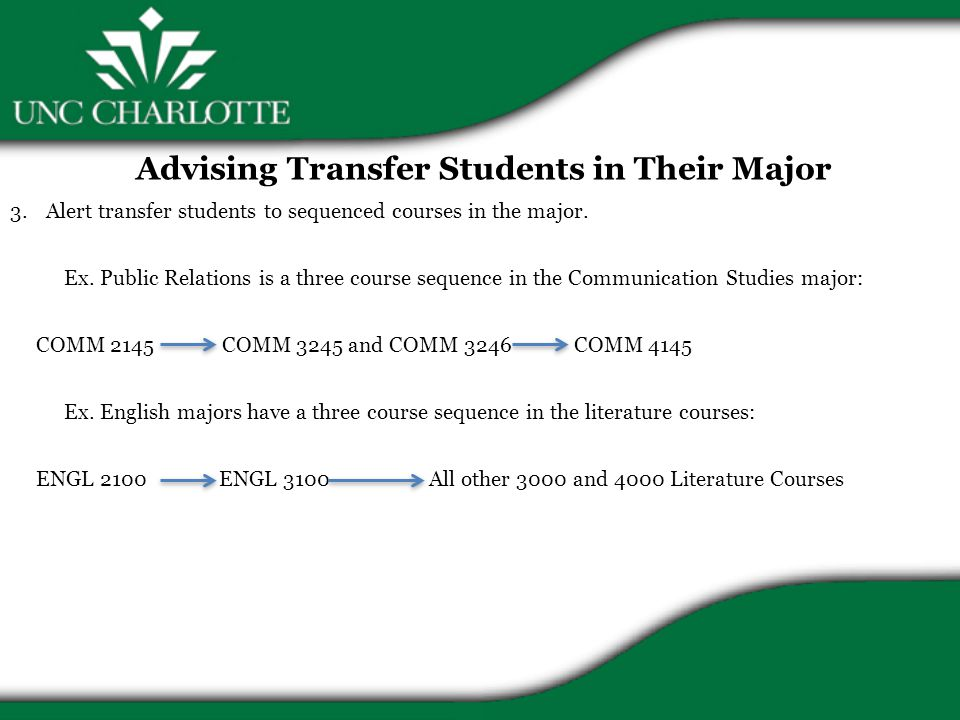 Advising Transfer Students in Their Major 3.Alert transfer students to sequenced courses in the major.