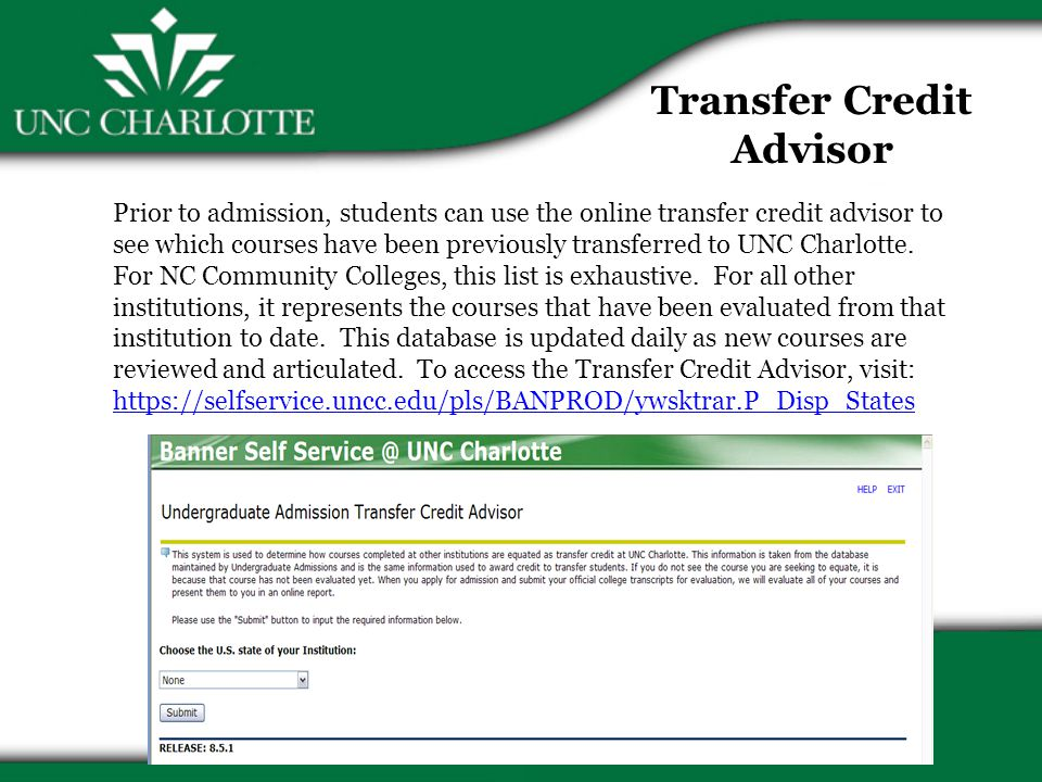 Transfers Not Admitted to Competitive Major Will be accepted to UNC Charlotte as an undeclared student (UCOL) Most will continue attempts to be accepted to desired competitive major Some will choose alternate major once opportunities to enter first choice are exhausted
