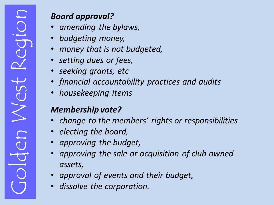 Board approval.