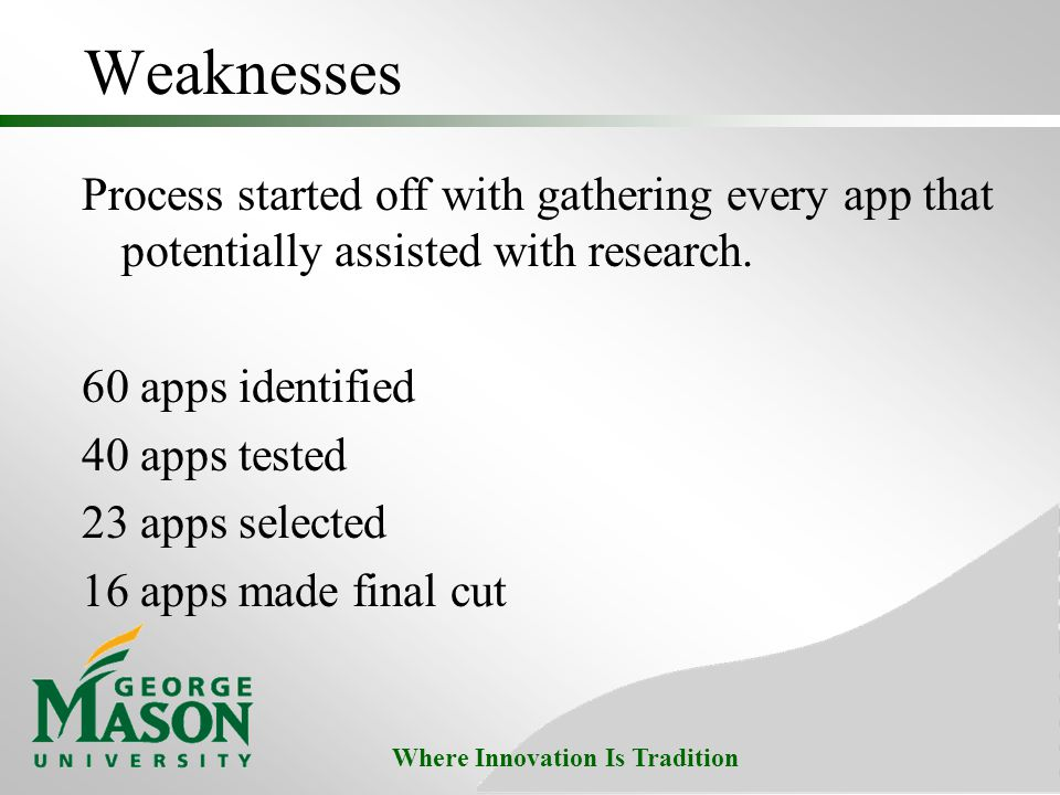Where Innovation Is Tradition Weaknesses Process started off with gathering every app that potentially assisted with research. 60 apps identified 40 a