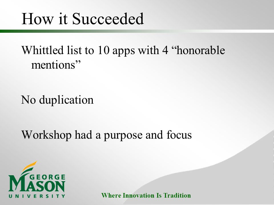 "Where Innovation Is Tradition How it Succeeded Whittled list to 10 apps with 4 ""honorable mentions"" No duplication Workshop had a purpose and focus"