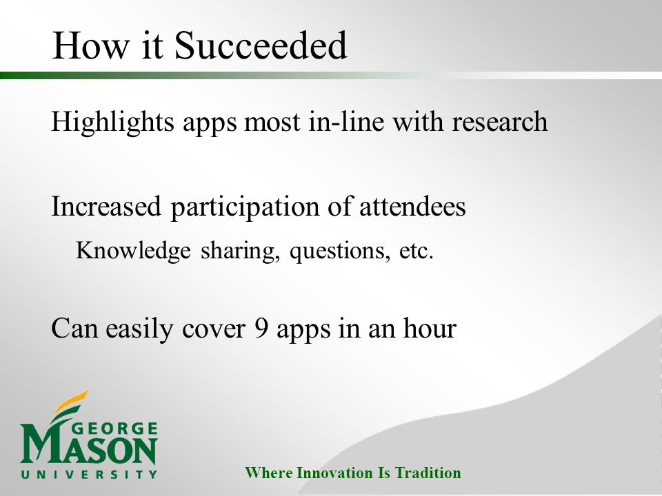 Where Innovation Is Tradition How it Succeeded Highlights apps most in-line with research Increased participation of attendees Knowledge sharing, questions, etc.