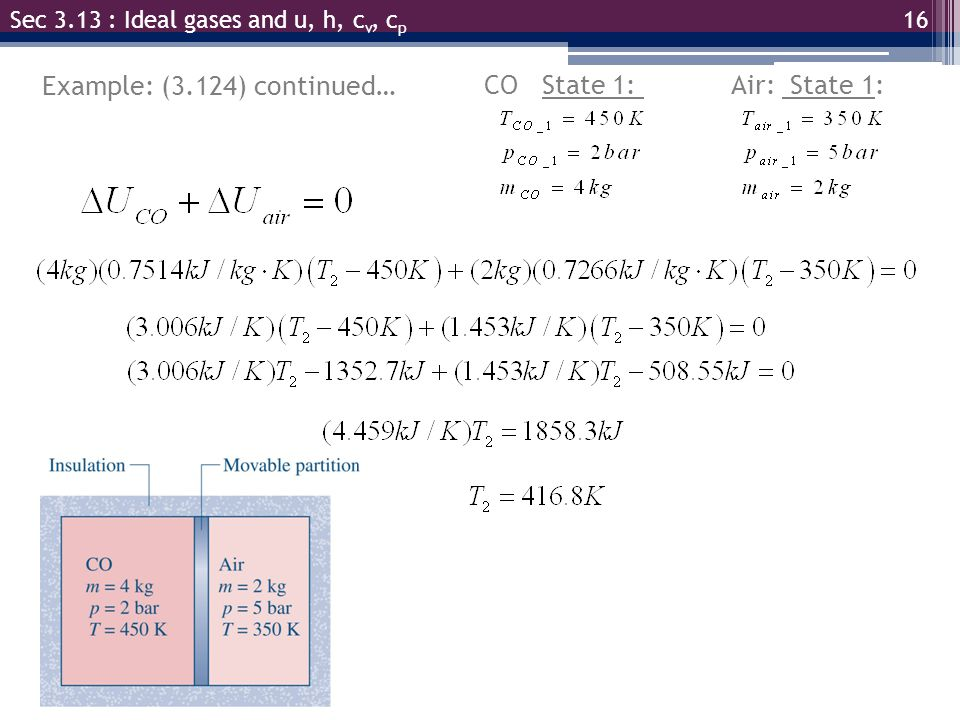 17 Example: (3.124) continued Find V total Then find p final Sec 3.13 : Ideal gases and u, h, c v, c p