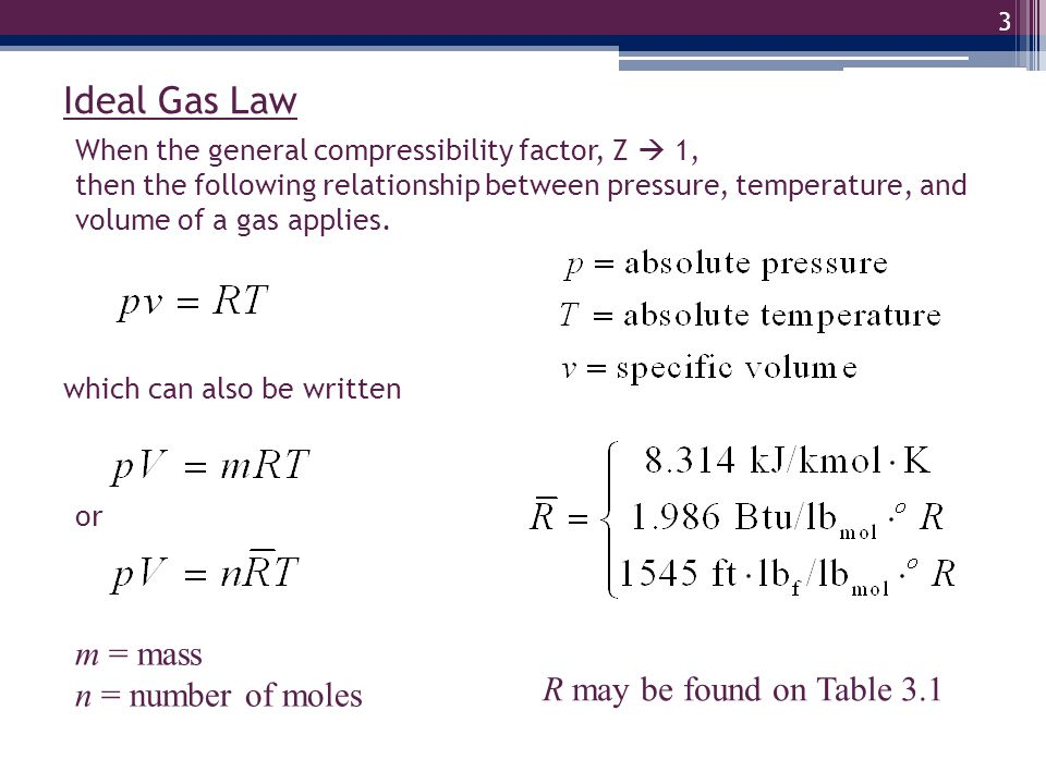 4 Sec 3.13 : Ideal gases and u, h, c v, c p If a gas behaves as an ideal gas, then its specific internal energy, u, depends only on temperature.