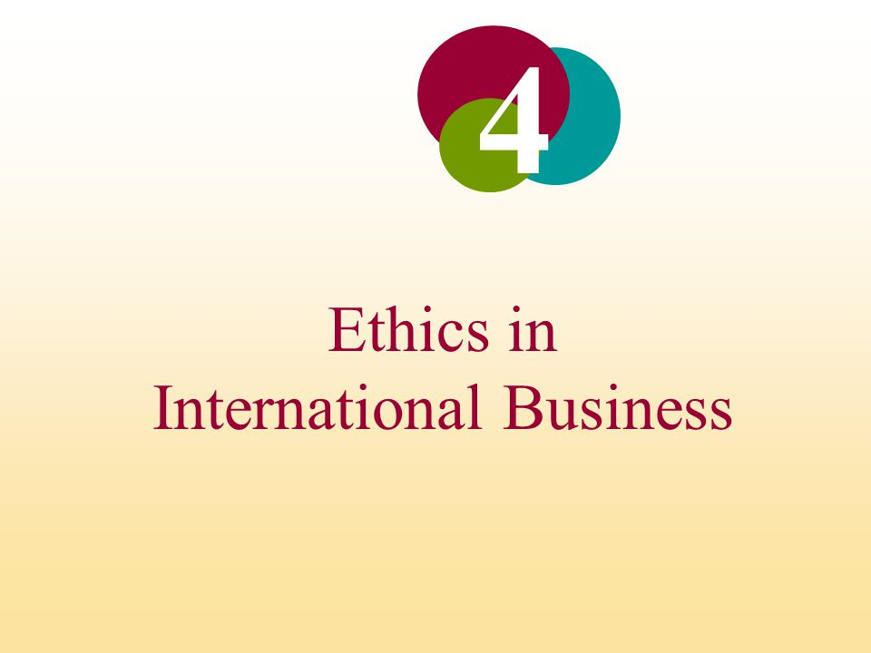 Ethics in International Business INTRODUCTION Ethics refers to accepted principles of right or wrong that govern the conduct of a person, the members of a profession, or the actions of an organization.