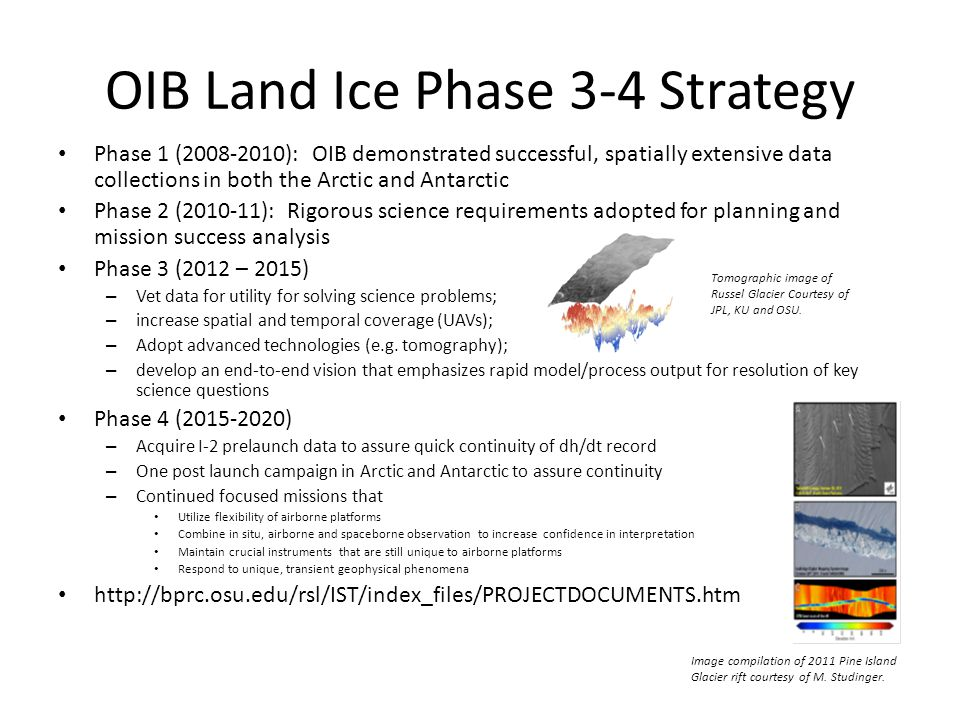 OIB Land Ice Phase 3-4 Strategy Phase 1 (2008-2010): OIB demonstrated successful, spatially extensive data collections in both the Arctic and Antarctic Phase 2 (2010-11): Rigorous science requirements adopted for planning and mission success analysis Phase 3 (2012 – 2015) – Vet data for utility for solving science problems; – increase spatial and temporal coverage (UAVs); – Adopt advanced technologies (e.g.