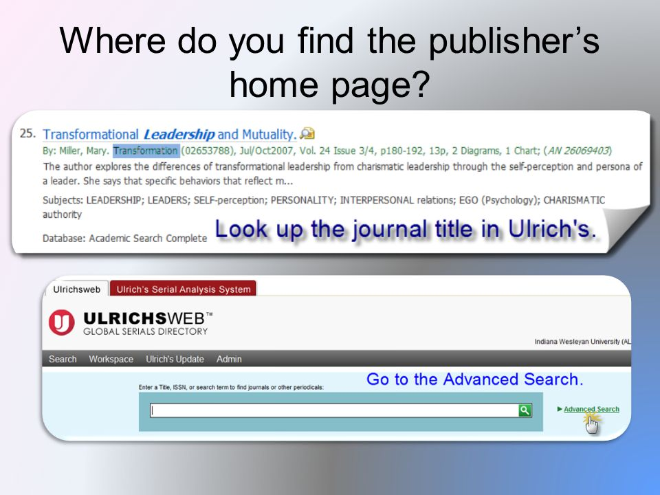 Where do you find the publisher's home page?