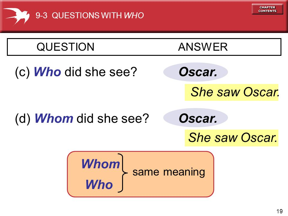 19 Oscar.QUESTION ANSWER (c) Who did she see. (d) Whom did she see.