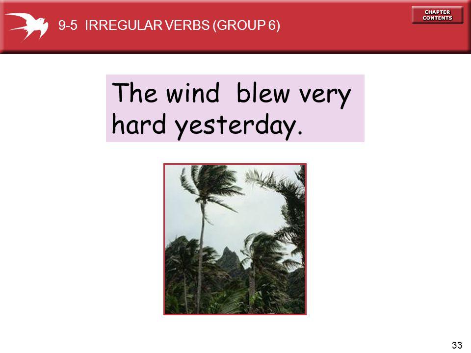 33 The wind blew very hard yesterday. 9-5 IRREGULAR VERBS (GROUP 6)