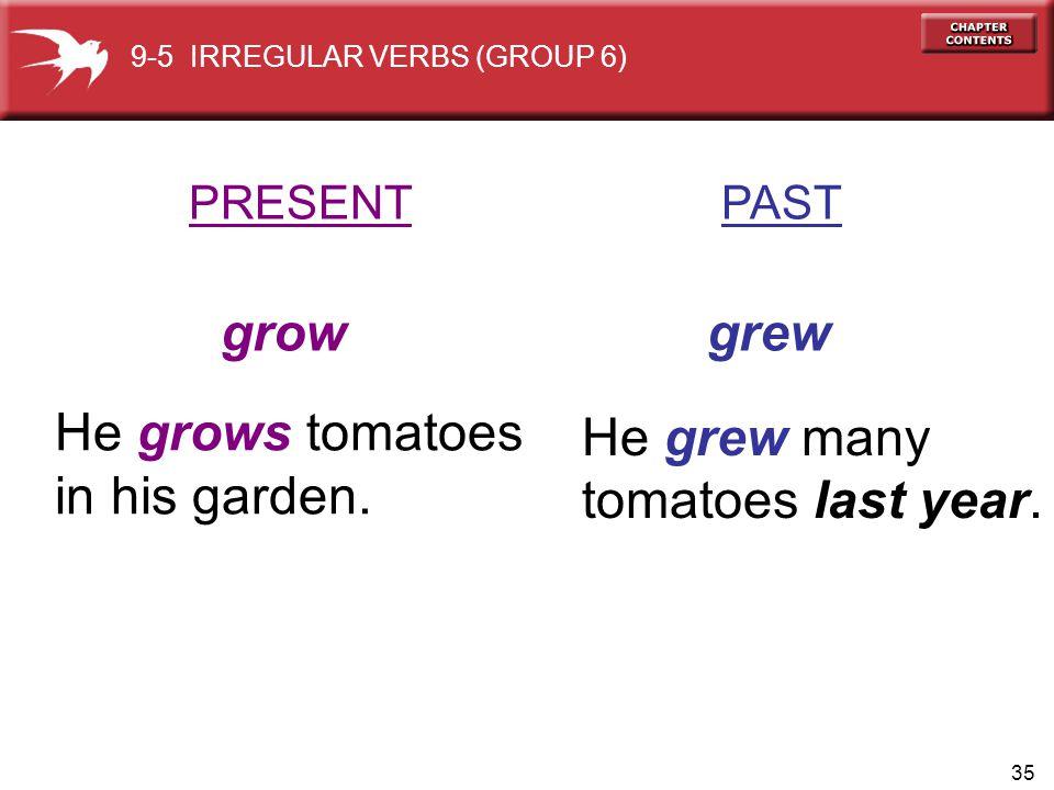 35 PRESENT PAST grow grew He grows tomatoes in his garden.