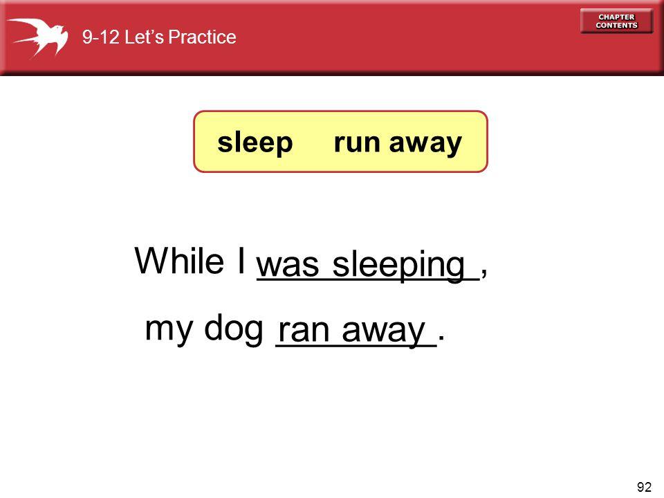 92 While I ___________, my dog ________. ran away was sleeping 9-12 Let's Practice sleep run away