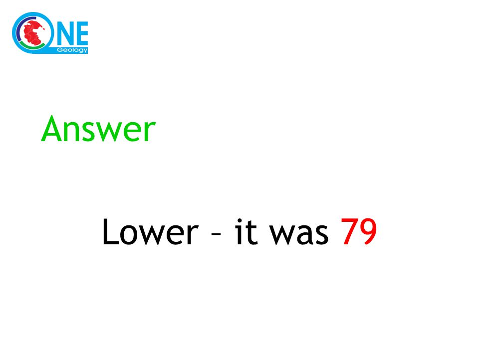 Answer Lower – it was 79