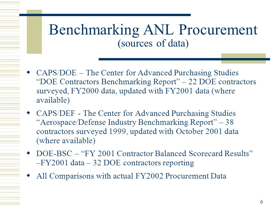 "6 Benchmarking ANL Procurement (sources of data)  CAPS/DOE – The Center for Advanced Purchasing Studies ""DOE Contractors Benchmarking Report"" – 22 DO"