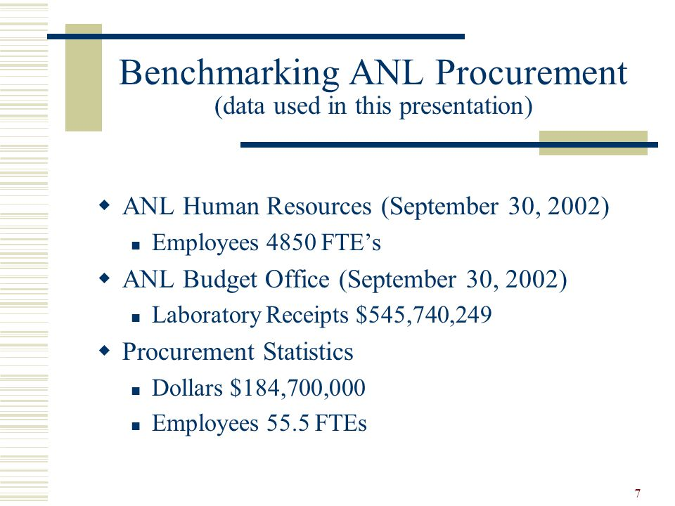 7 Benchmarking ANL Procurement (data used in this presentation)  ANL Human Resources (September 30, 2002) Employees 4850 FTE's  ANL Budget Office (S