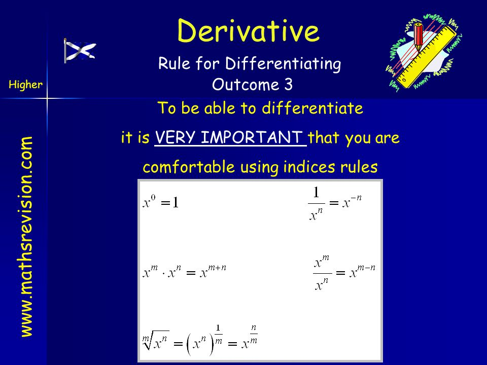 www.mathsrevision.com Rule for Differentiating To be able to differentiate it is VERY IMPORTANT that you are comfortable using indices rules Derivativ