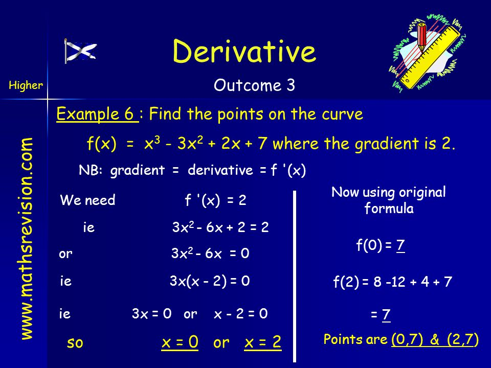 www.mathsrevision.com Example 6 : Find the points on the curve f(x) = x 3 - 3x 2 + 2x + 7 where the gradient is 2. NB: gradient = derivative = f '(x)