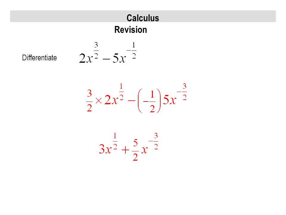Calculus Revision Differentiate