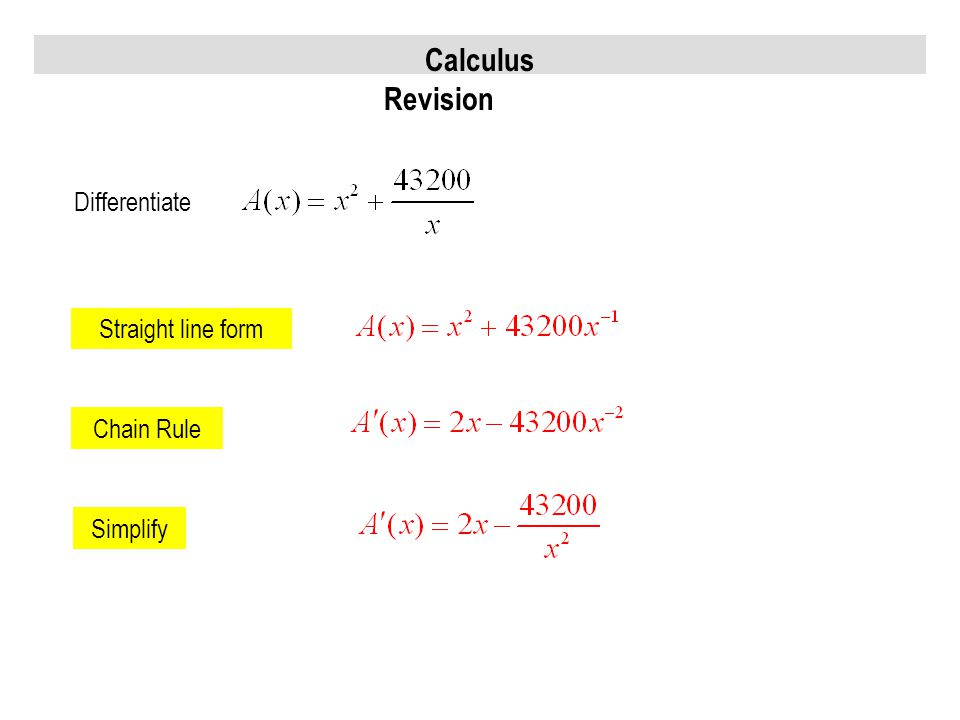 Calculus Revision Differentiate Chain Rule Simplify Straight line form