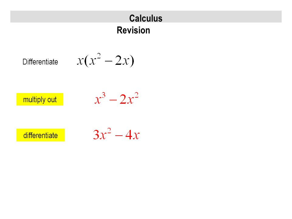 Calculus Revision Differentiate multiply out differentiate
