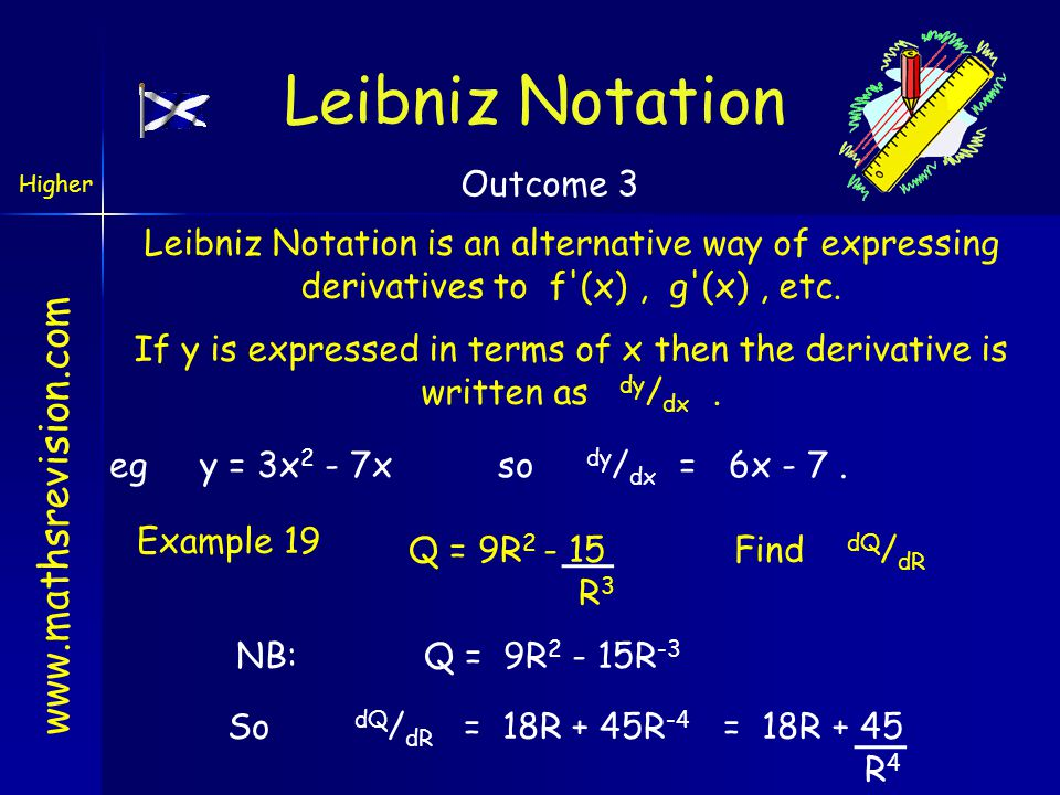 www.mathsrevision.com If y is expressed in terms of x then the derivative is written as dy / dx. Leibniz Notation Leibniz Notation is an alternative w