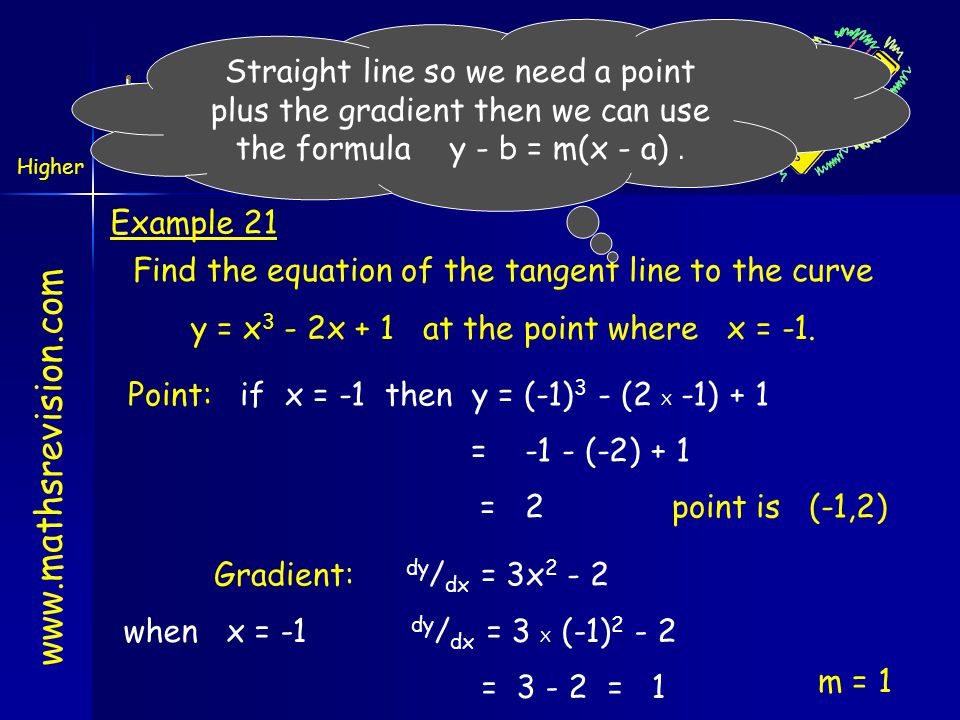 www.mathsrevision.com Higher Outcome 3 Equation of Tangents Example 21 Find the equation of the tangent line to the curve y = x 3 - 2x + 1 at the poin