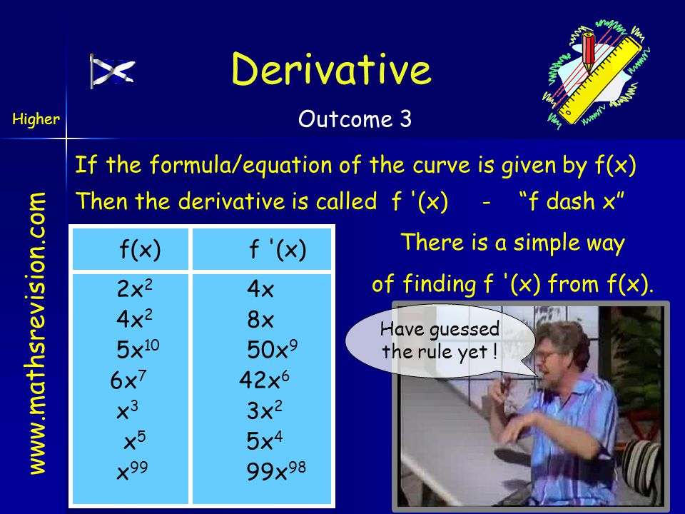 "www.mathsrevision.com If the formula/equation of the curve is given by f(x) Then the derivative is called f '(x) - ""f dash x"" There is a simple way of"