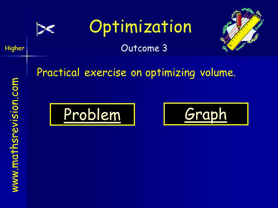www.mathsrevision.com Optimization Higher Outcome 3 Problem Practical exercise on optimizing volume. Graph