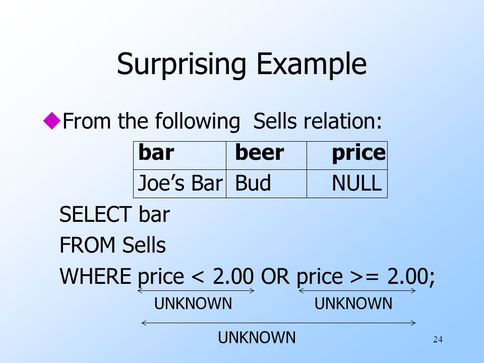 24 Surprising Example uFrom the following Sells relation: barbeerprice Joe's BarBudNULL SELECT bar FROM Sells WHERE price = 2.00; UNKNOWN