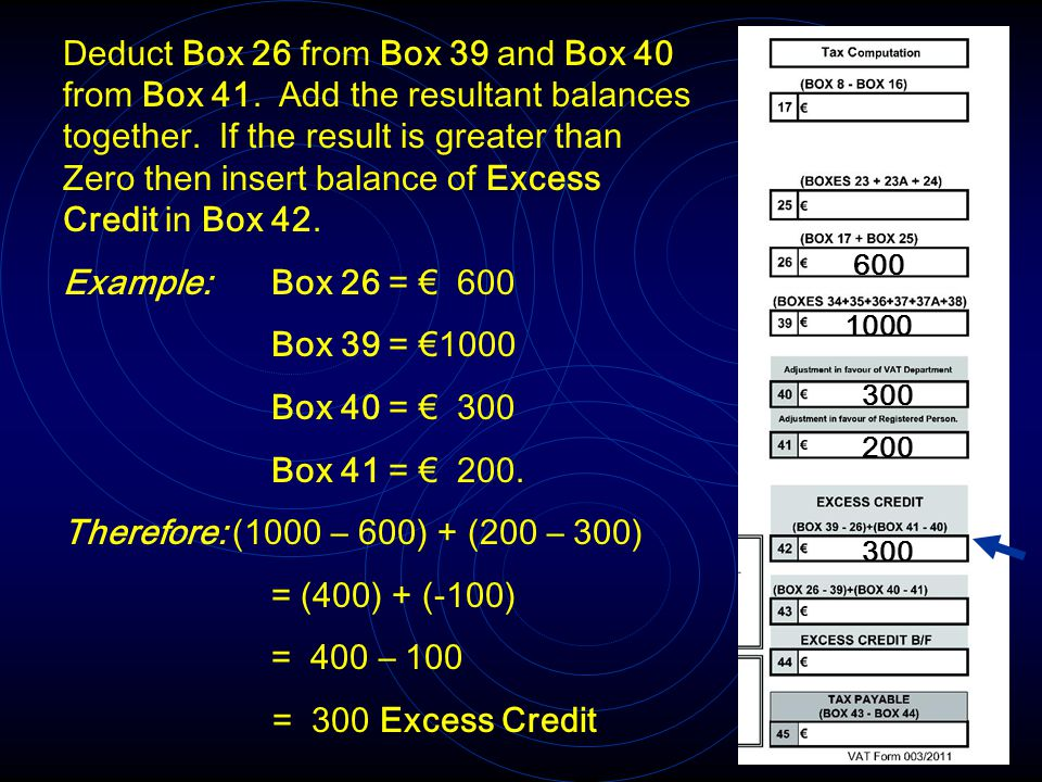 Deduct Box 26 from Box 39 and Box 40 from Box 41. Add the resultant balances together. If the result is greater than Zero then insert balance of Exces