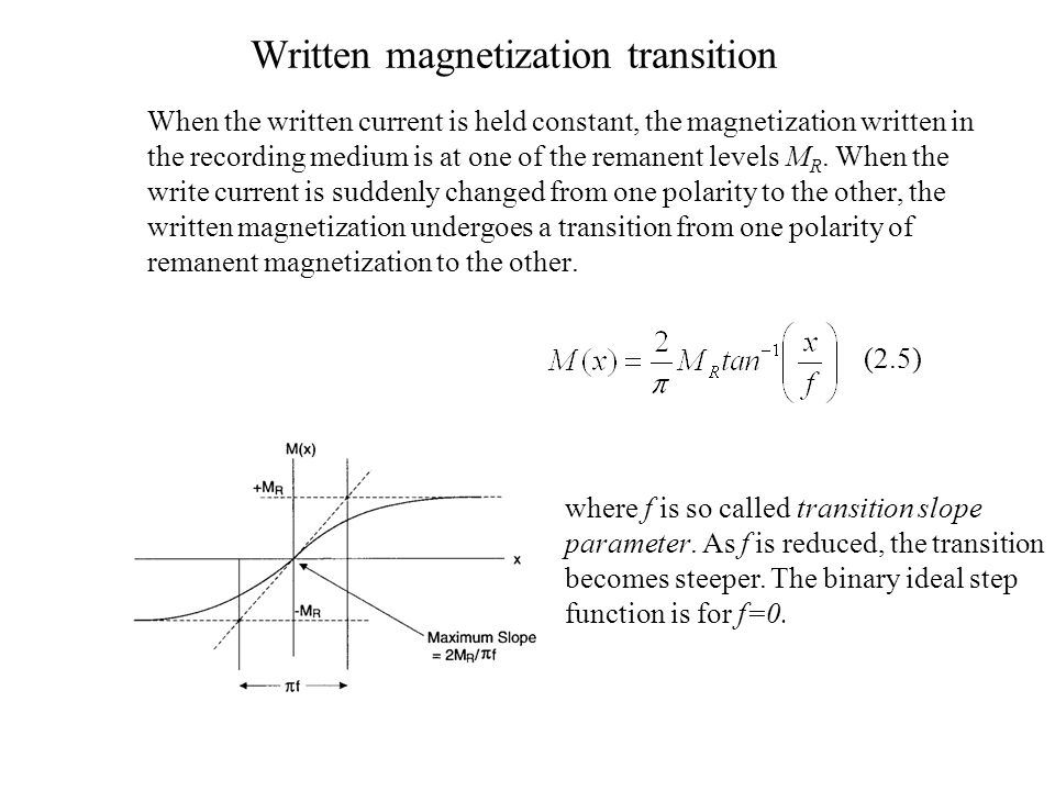 Written magnetization transition When the written current is held constant, the magnetization written in the recording medium is at one of the remanent levels M R.